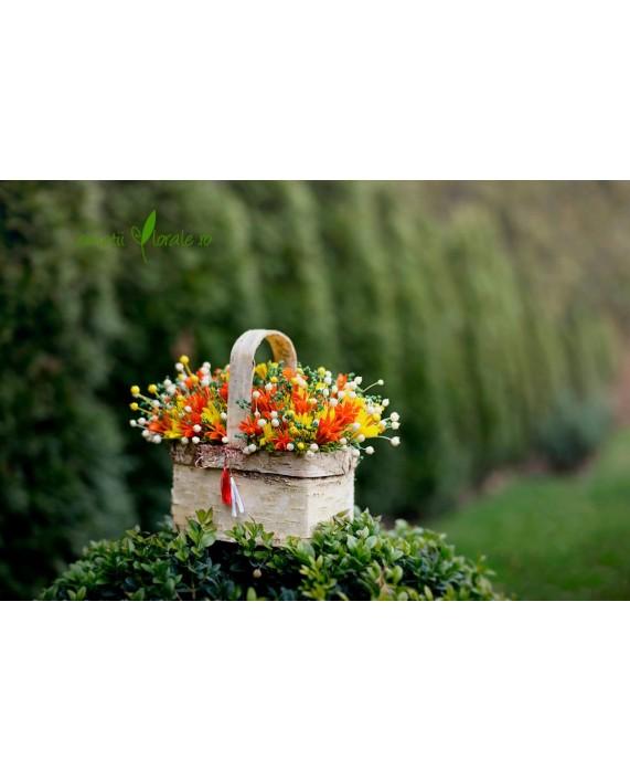Cos din mesteacan cu flori uscate  -  PR1M61