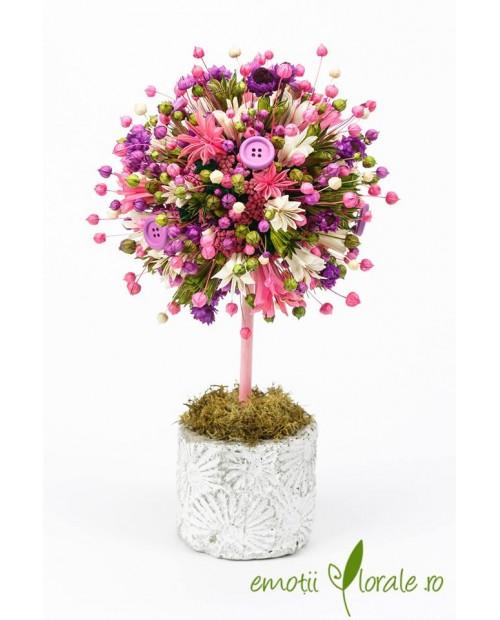 Copac colorat cu flori naturale  uscate si vas piatra - PR1M66