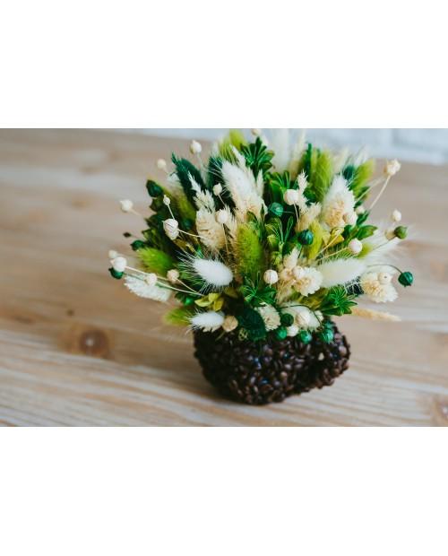 Ceasca cu boabe de cafea si flori uscate CS5486