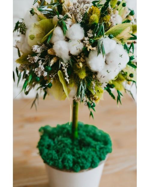 Copac cu flori de bumbac si frunze skeleton verzi SK8712