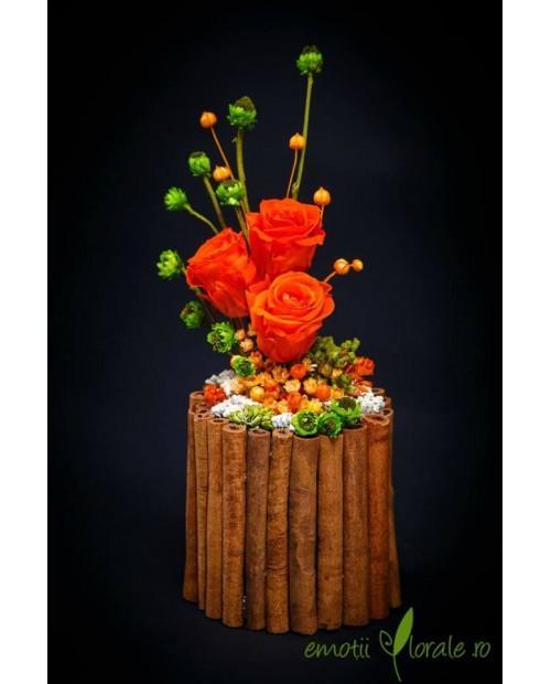 Aranjament floral cu 3 trandafiri naturali stabilizati portocalii B409P9