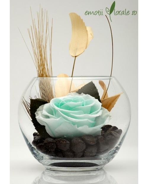 Aranjament floral trandafir stabilizat minty green BU31G3