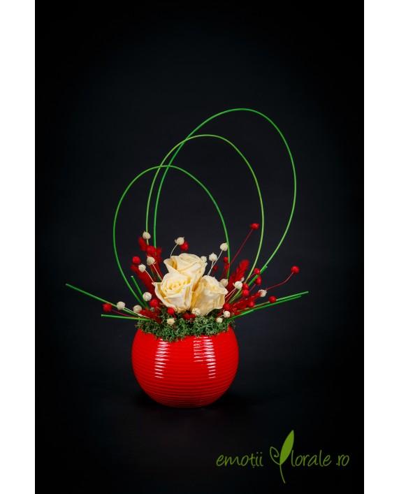 Aranjament cu 3 trandafiri crem naturali stabilizati care tin 3 ani  ROZE01