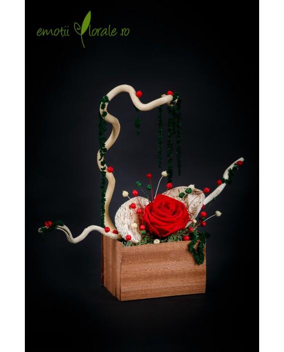 Aranjament realizat cu trandafir natural stabilizat rosu ROZE05