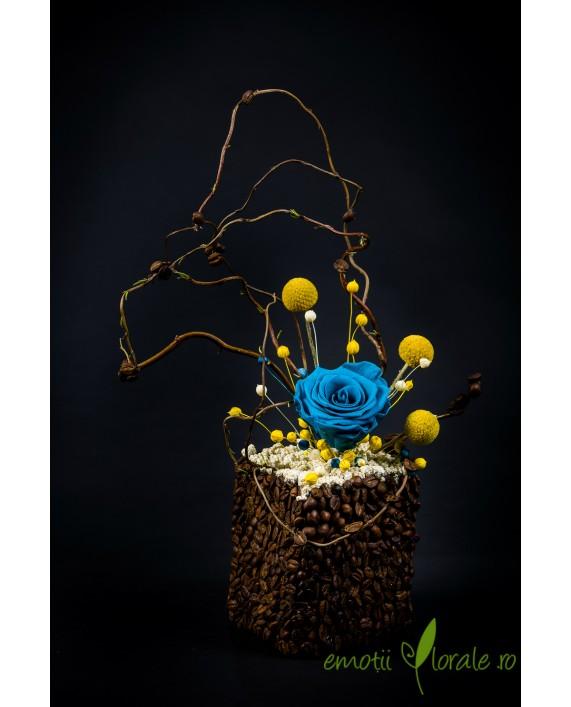 Aranjament floral cu trandafir natural stabilizat V14P22